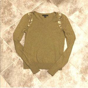 Banana Republic gold sequin soft wool sweater xs